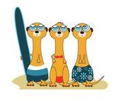 3 Meercat Surfers — Stock Vector