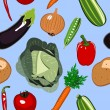 Seamless Vegetables Background — Stok Vektör