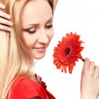 Young lady with red gerbera — Stock Photo #8295187