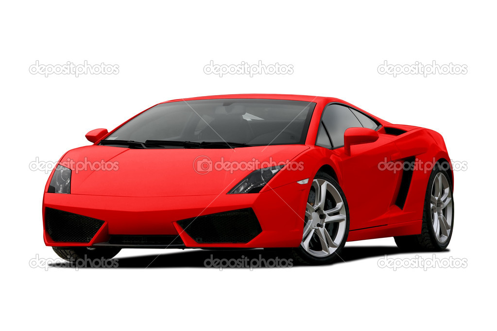 3/4 view of red supercar isolated on white  Stock Photo #8610154