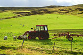 Meadow with a tractor — Stock Photo