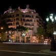 Casa Mila building at night in Barcelona, Spain — ストック写真