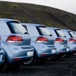 Cars parked in a row — Stock Photo
