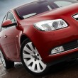 Cherry red car front detail — Stockfoto #9603715
