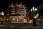 Casa Mila building at night in Barcelona, Spain — Stock Photo