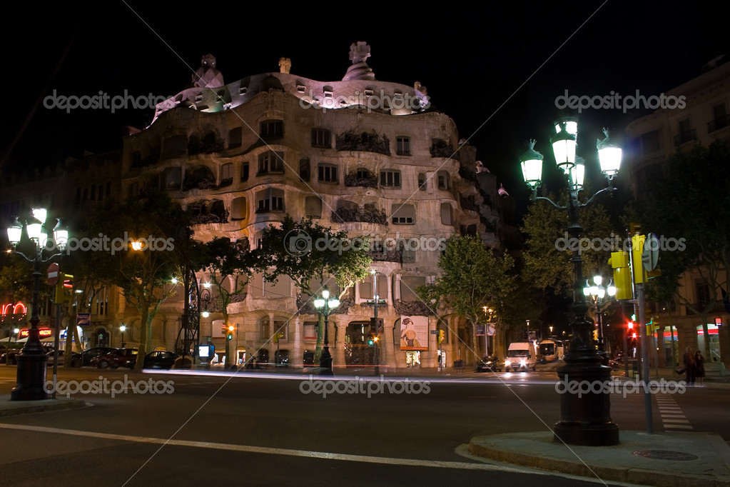 Casa Mila building at night in Barcelona, Spain  Stock Photo #9601254