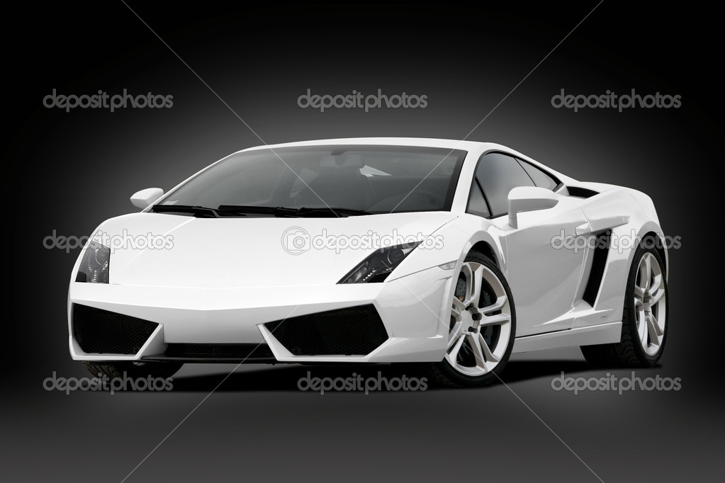 3/4 view of white supercar on black background — Stock Photo #9603508