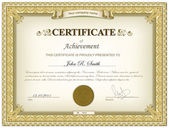 Gouden gedetailleerde certificaat — Stockvector