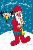 Santa and tit — Stock Vector
