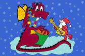 New Year's dragon and Santa — Stock Vector