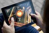 Play Death Rally on Apple Ipad2 — Stock Photo