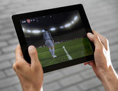 Play FIFA football on Apple Ipad2 — Stock Photo