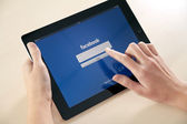 Log In On Facebook App — Stock Photo