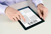 Touching Screen With News On Tablet PC — Stock Photo