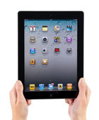 Holding IPad2 Vertical — Stock Photo