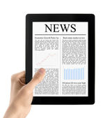 Hand Holds Tablet PC With News Isolated — Stock Photo