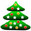 Decorated christmas tree — Stock Vector
