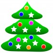 Decorated christmas tree — Stock Vector #7980111
