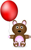 Bear with red balloon — Stock Vector