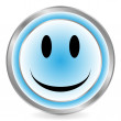 Smile face blue circle icon — Stock Vector