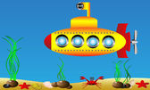 Yellow submarine under water — Vector de stock