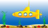Submarino amarillo bajo el agua — Vector de stock