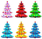 Set of decorated christmas trees — Stock Vector