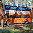 Stock Photo: Red double-decker bus in the Zelenogorsk
