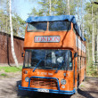 Red double-decker bus in the Zelenogorsk — Stock Photo