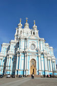 Smolny Cathedral on a sunny spring day — Stock Photo