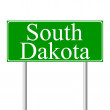 South Dakota green road sign — Imagens vectoriais em stock