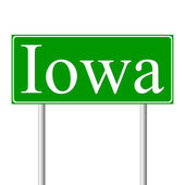 Iowa green road sign — Stock Vector