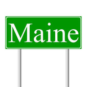 Maine green road sign — Stock Vector