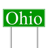 Ohio green road sign — Stock Vector