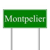 Montpelier green road sign — Stock Vector
