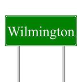 Wilmington green road sign — Stock Vector