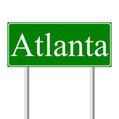 Atlanta green road sign — Stock Vector