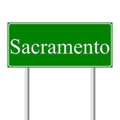 Sacramento green road sign — Stock Vector
