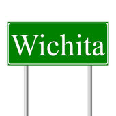 Wichita green road sign — Stock Vector