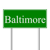 Baltimore green road sign — Vettoriale Stock