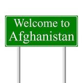 Vítejte v afghánistánu, koncepce dopravní značka — Stock vektor