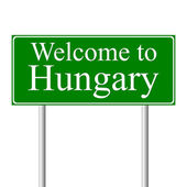 Welcome to Hungary, concept road sign — Stock Vector