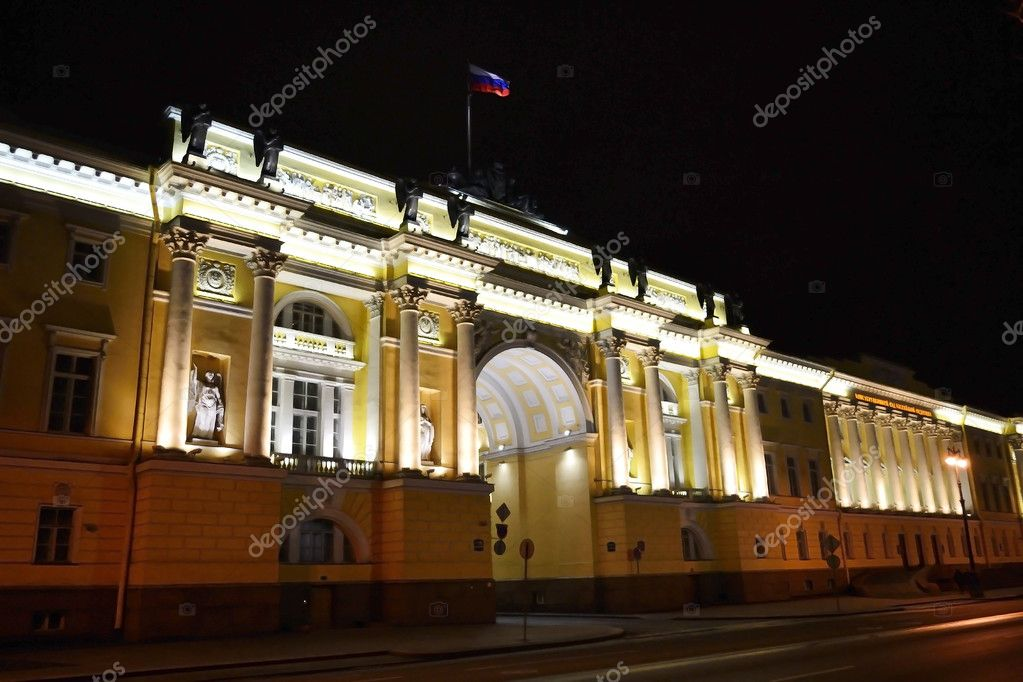 Senate and Synod building at night, St.Petersburg, Russia — Stock Photo #8394369