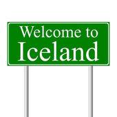¡ bienvenido a islandia, señal de tráfico concepto — Vector de stock