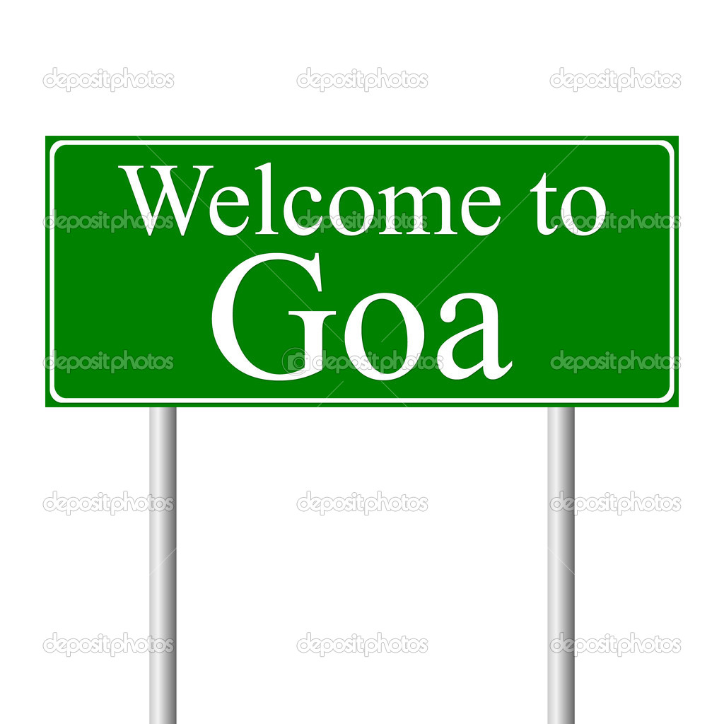 Welcome to Goa, concept road sign isolated on white background — Stock Vector #8399716