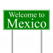 Welcome to Mexico, concept road sign — Stock Vector