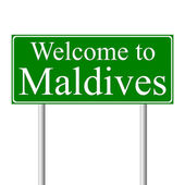 Welcome to Maldives, concept road sign — Stock Vector