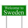Welcome to Sweden, concept road sign — Stock Vector #8428133
