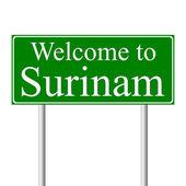 ¡ bienvenido a surinam, señal de tráfico concepto — Vector de stock