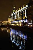 Night view of embankment of Griboyedov Canal — Stock Photo